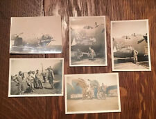 WW2 Lot Of 5 Photos Original Airplane Bombers & Soldiers Painted Planes