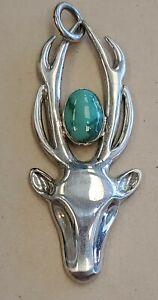 VTG SIGNED Z Sterling Silver 925 Turquoise Deer w Antler Pendant Southwest