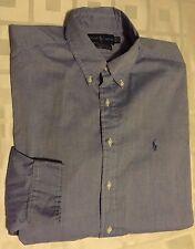 RALPH LAUREN Men Chambray Yarmouth 100% Two Ply Cotton Button Shirt Sz 17 32/33