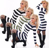 Mujer Vestido de Punto Mini Largo Suéter Jersey Camiseta Rayas