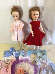 """2 Vintage Fashion Dolls 1950's, 1960's, 19"""", Plus 10 Outfits, Revlon/Valentine"""