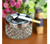 A14 Portable White Metal+Glass Home Storage Circular Cigarette Ashtray Gift