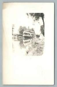 Leander Choate Steamer Ship OSHKOSH Wisconsin RPPC Antique Packet Boat Photo 10s