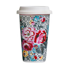 Pippa Floral Travel Coffee Mug Double Walled Porcelain & Silicone 330ml Cup