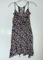 Lot of 2 American Eagle Size Small Floral Lace Back V Neck Ruffle Sundress Navy