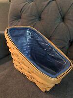 2001 Longaberger Medium Vegetable Basket With Blue & Paprika Liner & Protector