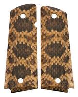 Custom Full Size 1911 Grips Ambidextrous Rattlesnake Rattler Snake Skin Colt etc