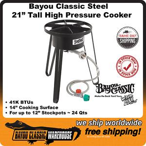 "Tall Bayou Classic SP50 High Pressure 14"" Cooker 21"" Tall Very Versatile 41K BTU"