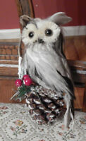 Seasons by Nicole Owl Sitting on Pinecone Ornament