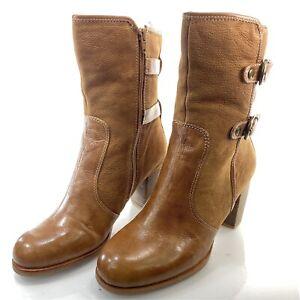NAYA Lightning Women's 9 M Brown Tan Leather Block Heel Boots Booties