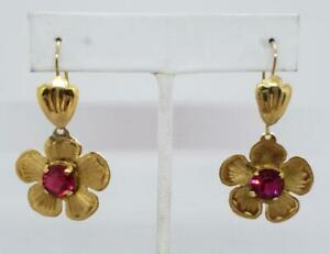 Antique 10K Yellow French Wire Dangle Earrings Simulated Red Stone
