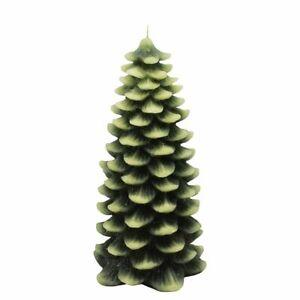"NEW St Nicholas Square Farmhouse Christmas Tree Candle Pine Green Holiday 9"" 7"""