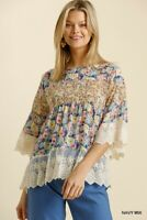 Umgee Floral Print Embroidered Lace Bell Sleeve Top Size S M