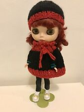 Handmade For 11� Blythe Doll Knit Hat Beanie And Matching Poncho Black And Red