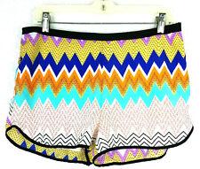Lush Womens Shorts Size L Colorful Geometric Retro Side Zip Lightweight Zig Zag