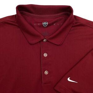 Nike Golf Burgundy Red Short Sleeve Dri Fit Performance Mens Polo Shirt • XL