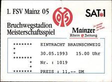Ticket II. BL 92/93 1. FSV Mainz 05- Eintracht Braunschweig, 30.05.1993
