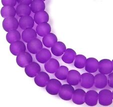 100 Czech Frosted Sea Glass Round / Rocaille Beads Matte - Dark Violet 4mm