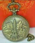 Paris Quartz Pocket Watch Steampunk Retro Necklace Pendant Gift