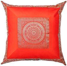 "Large Orange Pillow Cushion Cover Mandala Brocade Silk Sofa Throw Decor 24x24"""