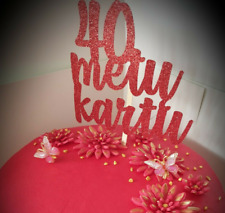 Personalised Birthday Cake topper RED Glitter Any Name or Age FREE P&P