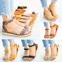 Women's Ladies Strap Ankle Buckle Flatform Wedges Woven Sandals Roman Shoes Size