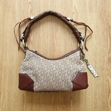 RRP £150 DKNY Monogram Genuine Leather Brown Handbag Small Designer Bag Canvas