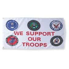We Support Our Troops Flag 3 x 5 ft All 5 Services USMC USAF USN US Army USCG