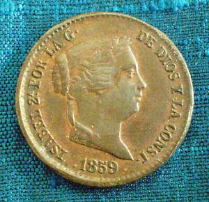 Pièce de 10 cent de Réal de 1859 Espagne Isabelle II