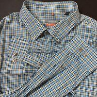 Van Heusen Traveler Mens XXL Blue Green Striped Long Sleeve Button Front Shirt