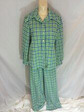 Vtg Womens Hamilton 8 Dallas Polyester Suit Plaid Butterfly Collar Bellbottom