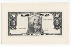 1917 Banque D'Hochelaga $20 Face and Back Proofs - Sale