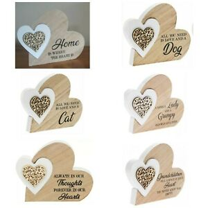 SENTIMENT WOODEN DOUBLE HEART BLOCK PLAQUES ORNAMENT BIRTHDAY GIFT Present LOVE