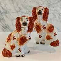 Pair Exquisite Antique Victorian Staffordshire Spaniels Russet White 7 1/2""