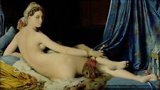 Stunning Oil painting beautiful nude lady on bed with feather fan - on canvas
