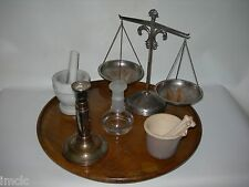 Antique-Vintage~APOTHECARY~Balance SCALE of JUSTICE~Mortar & Pestle~Candlestick