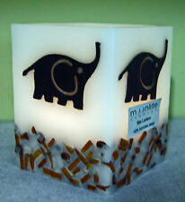 ELEPHANT,BLACK, WAX CANDLE LANTERN SQUARE -TEA LIGHT-HOME DECOR, AFRICA, BALI