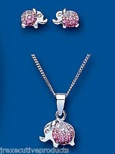 Child's Elephant Set Sterling Silver Children's Elephant Pendant & Earring Set