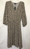 Banana Republic Leopard Print V-Neck Midi Dress Size S