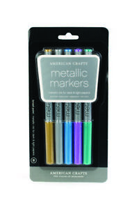 American Crafts Metallic Marker 5-Pack, Broad Point, Multi Color