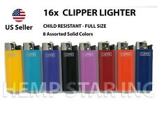 16X Original Brand CLIPPER LIGHTERS Full Size Child resist - (8 Colors - 2 Each)