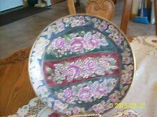 Andrea By Sadek Vintage Porcelain Rose & Spring Blossom Burgundy Green Plate