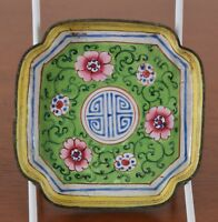 Antique Chinese Canton Enamel Dish Decorated With Flowers and Chinese Symbol