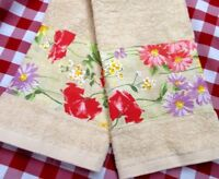 Tommy Hilfiger fabric  2/ Custom Decorated HAND TOWELS Sweet Florals on Cream