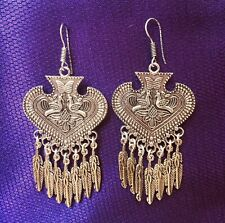 SILVER PLATED ORNATE INDIAN HOOK EARRINGS- BOHO, ETHNIC, UNIQUE LADIES GIFT