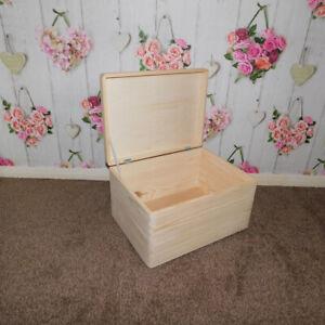 Large Wooden Boxes Plain Wood Storage Box Chest Lid Handles Keepsake Trunk Case