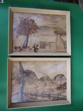 Vintage Pair Australian Bark Folk Art Pictures 1950's