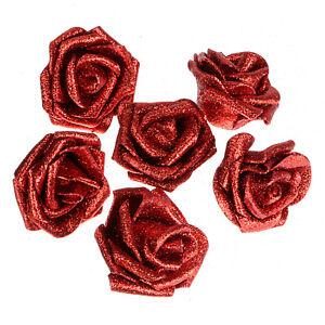 10-100PC Foam Roses Heads Glitter Powder Flowers Artificial Flower Wedding Decor