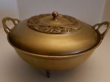 Vintage Korean Solid Brass Footed Bowl wHandles and Decorative Lid Collectible