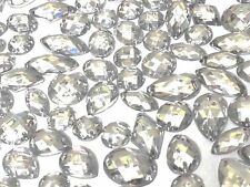 80 x CLEAR Faceted Acrylic Sew On, Stick on DIAMANTE Crystal Rhinestone GEMS